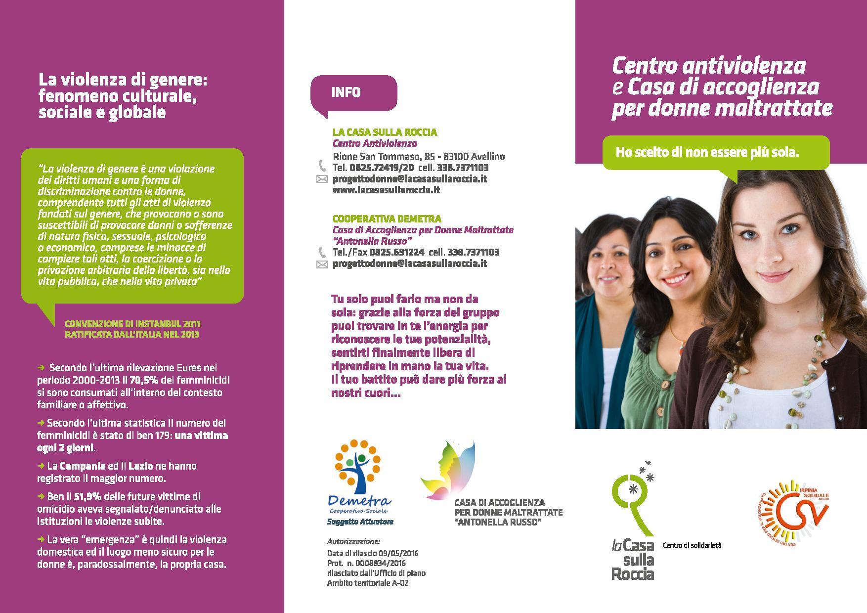 """Iniziativa progettuale """" SPAZIO DONNA""""- proposta di microprogettazione sociale 2014- 2015 finanziata dal Csv Solidale di Avellino"""